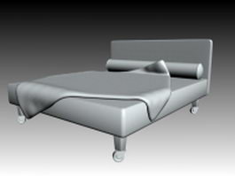 Movable double bed 3d model preview