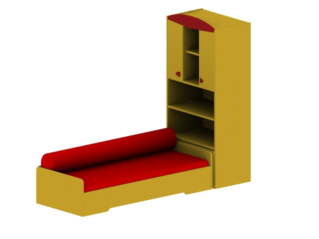 Kids bed with storage cabinet 3d rendering