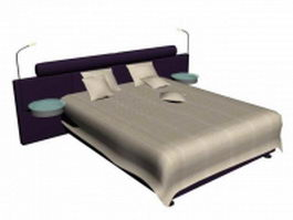 Luxury bed with night tables 3d preview
