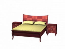 Classic wood bed and nightstands 3d preview