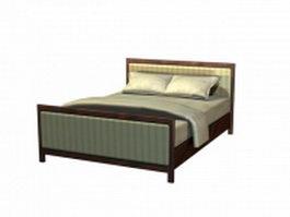 Double size wood platform bed 3d model preview