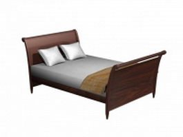 Wood sleigh bed 3d preview