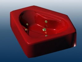 Red whirlpool bathtub 3d preview
