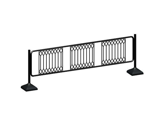 Metal traffic barrier 3d rendering