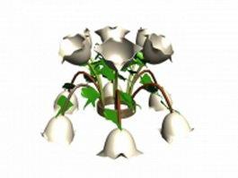 Flower chandelier 3d model preview