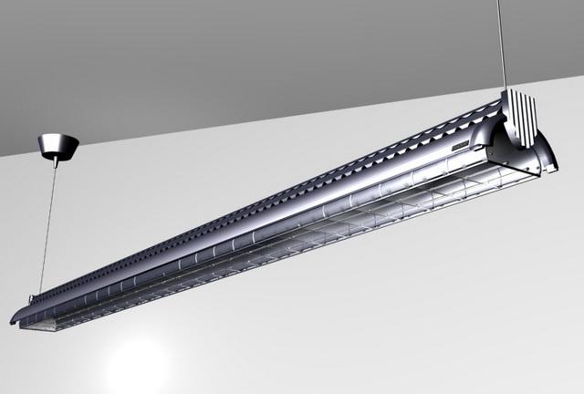 Aluminium ceiling fluorescent lamp 3d rendering