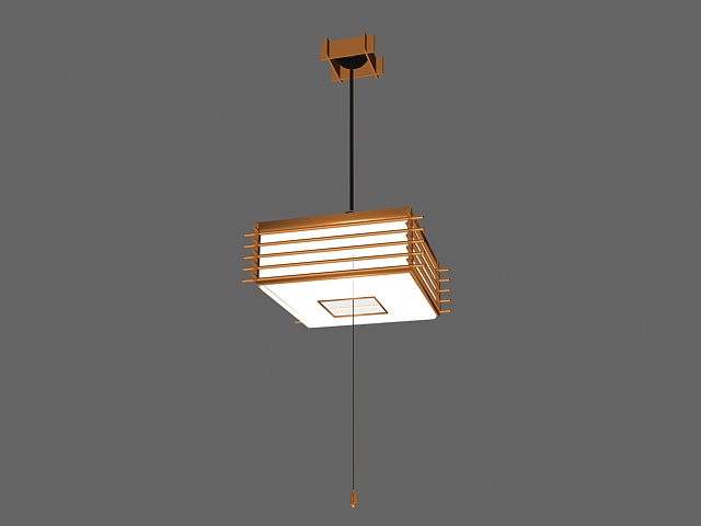 Square wooden hanging light 3d rendering