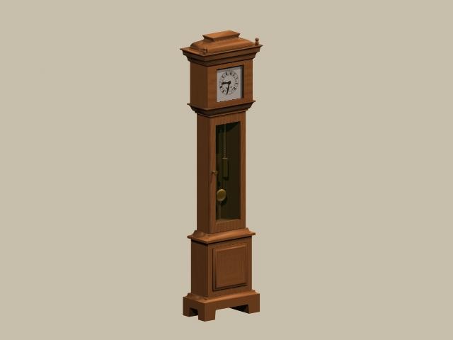 Grandfather clock 3d rendering