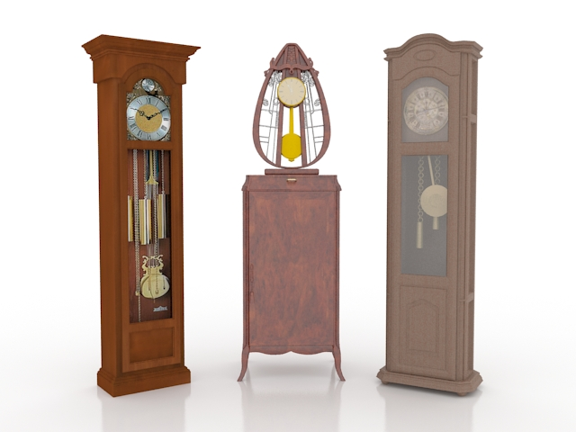Three pendulum clock collections 3d rendering
