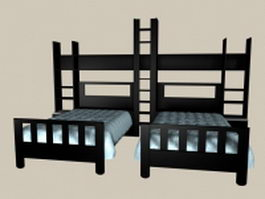 Kids room black wood twin beds 3d model preview
