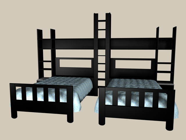 Kids room black wood twin beds 3d rendering