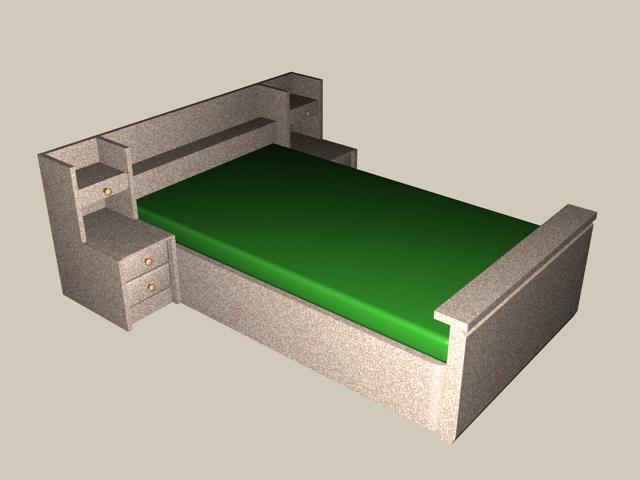 Kids room wall storage bed 3d rendering