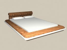 Queen size modern bed 3d model preview