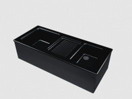 Black ceramic kitchen sink 3d preview