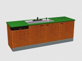Kitchen sink cabinet 3d model preview