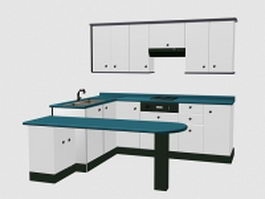 A set of white kitchen cabinet 3d model preview