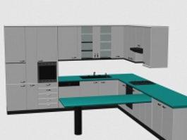 Modern kitchen cabinet design 3d preview
