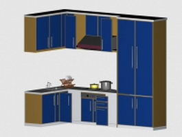 Small kitchen design 3d model preview