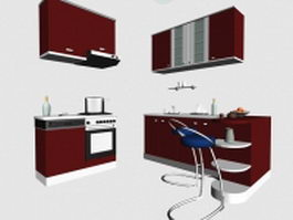 Red kitchen cabinet designs 3d preview