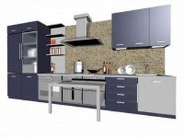 Modern residential kitchen design 3d preview