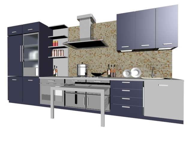 Modern residential kitchen design 3d rendering