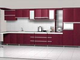 Maroon color kitchen unit design 3d preview