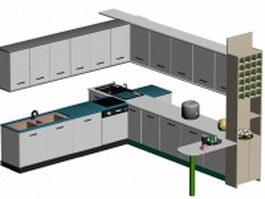 L kitchen design 3d preview