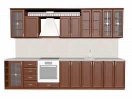 Traditional residential kitchen design 3d preview