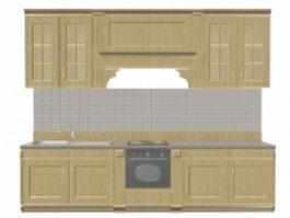 Apartment kitchen design 3d model preview