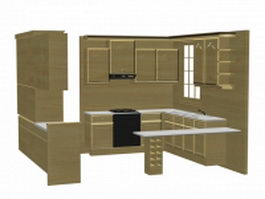 U-kitchen cabinet 3d preview