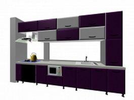 Luxury purple kitchen design 3d model preview