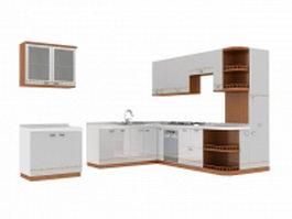 Elegant white kitchen design 3d model preview