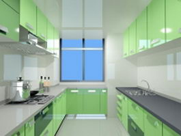 Green color double-file kitchen 3d preview