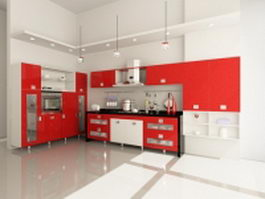 White and red kitchen design 3d preview