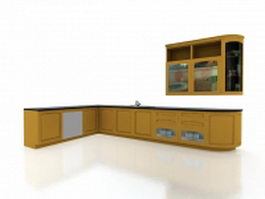 Yellow kitchen cabinets 3d preview