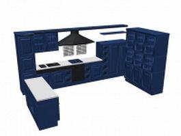 U kitchen cabinet design 3d preview