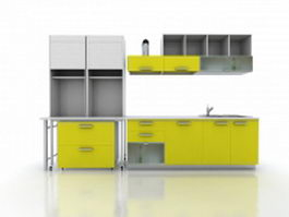 Yellow kitchen cabinet design 3d preview