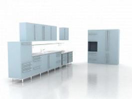 Sky blue kitchen design 3d preview
