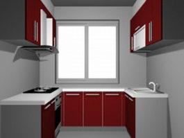 Small U-kitchen design 3d model preview