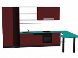 Kitchen cabinet with counter 3d preview