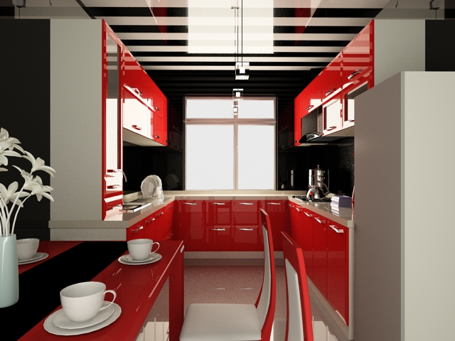 Small U kitchen design 3d rendering