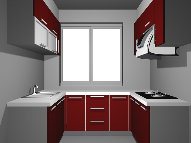 U-kitchen design plans 3d rendering