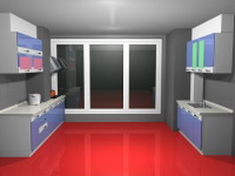 Small double-row kitchen 3d preview