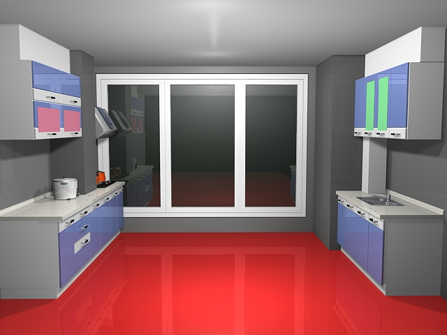 Small double-row kitchen 3d rendering