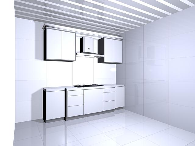 Simple kitchen design 3d rendering