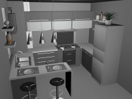 Small kitchen with counter design 3d model preview