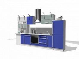 Blue kitchen cabinet design 3d preview