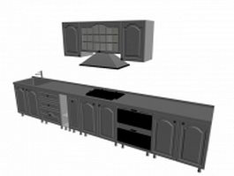 Single wall kitchen cabinet 3d model preview