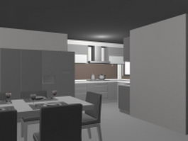 Kitchen and dining set design 3d model preview