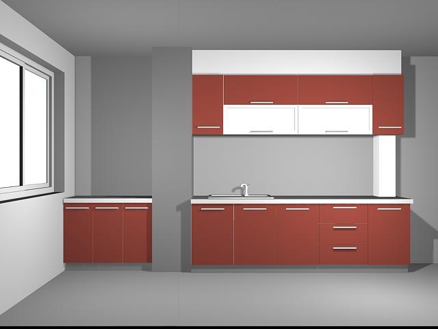 Indian red kitchen design 3d rendering